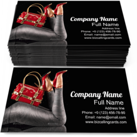 Red Handbag and Shoes Business Card Template