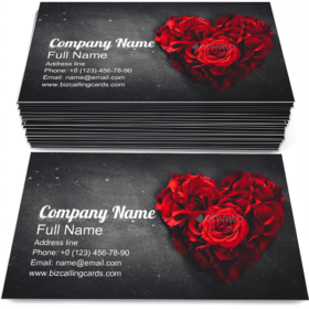 Red Roses in Heart Business Card Template