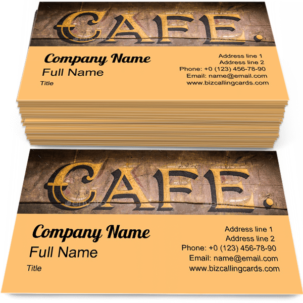 Sample of Cafe Sign business card design for advertisements marketing ideas and promote Retro Grungy branding identity