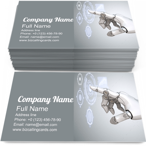 Sample of Robot's calling card design for advertisements marketing ideas and promote Virtual Reality branding identity
