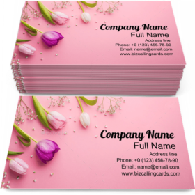 Romantic Pink Flowers Business Card Template