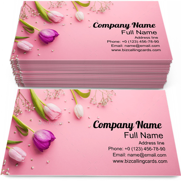 Sample of Pink Flowers business card design for advertisements marketing ideas and promote Romantic branding identity