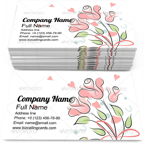 Sample of Rose Bouquet business card design for advertisements marketing ideas and promote Romantic branding identity