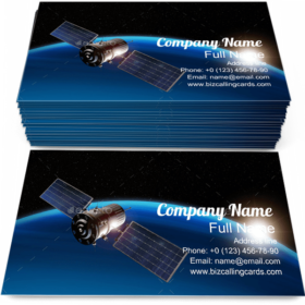 Satellite Orbiting Earth Business Card Template