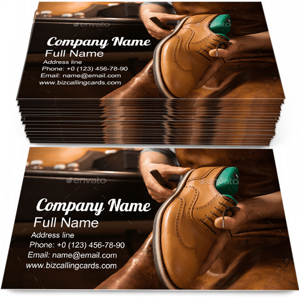 Sample of Shoemaker business card design for advertisements marketing ideas and promote Workshop branding identity