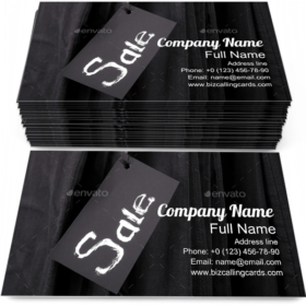 Sign Sale on Black Business Card Template