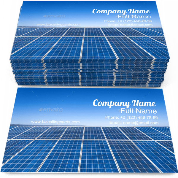 Sample of Solar Energy business card design for advertisements marketing ideas and promote Technology branding identity