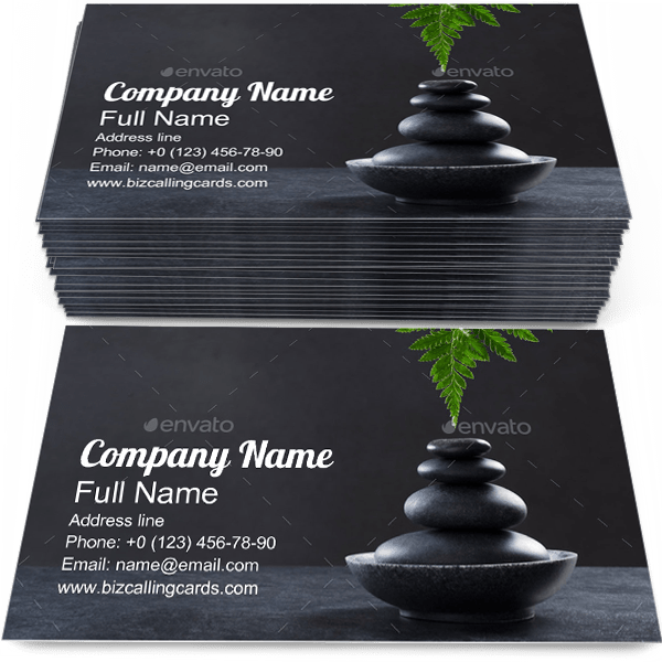Sample of Hot Stonebusiness card design for advertisements marketing ideas and promote Spa Massagebranding identity
