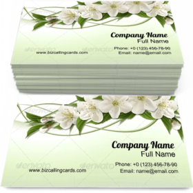 Spring Cherry Flowers Business Card Template