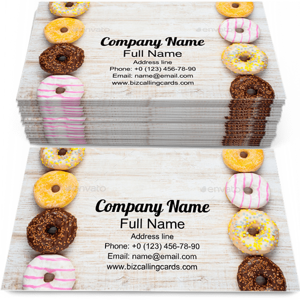 Sample of Doughnuts business card design for advertisements marketing ideas and promote dessert branding identity