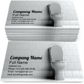 Toilet Bowl in Bathroom Business Card Template