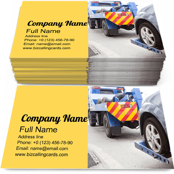 Sample of Tow Truck business card design for advertisements marketing ideas and promote Towing branding identity