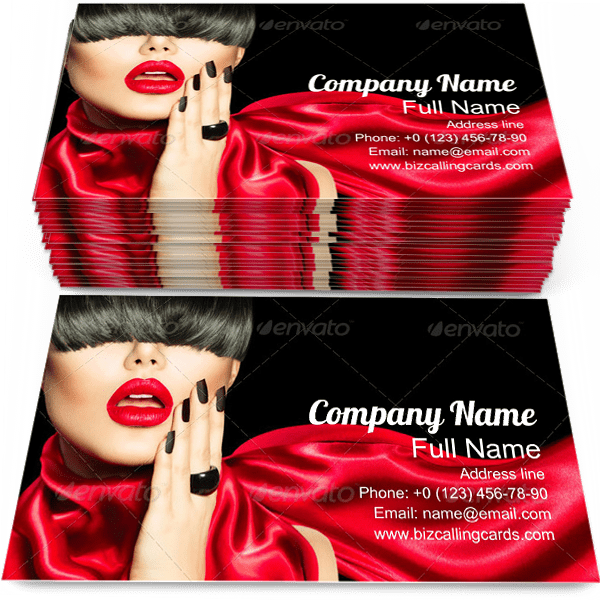 Sample of Makeup business card design for advertisements marketing ideas and promote Trendy Hairstyle branding identity