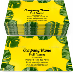 Tropical Monstera Leafs Business Card Template