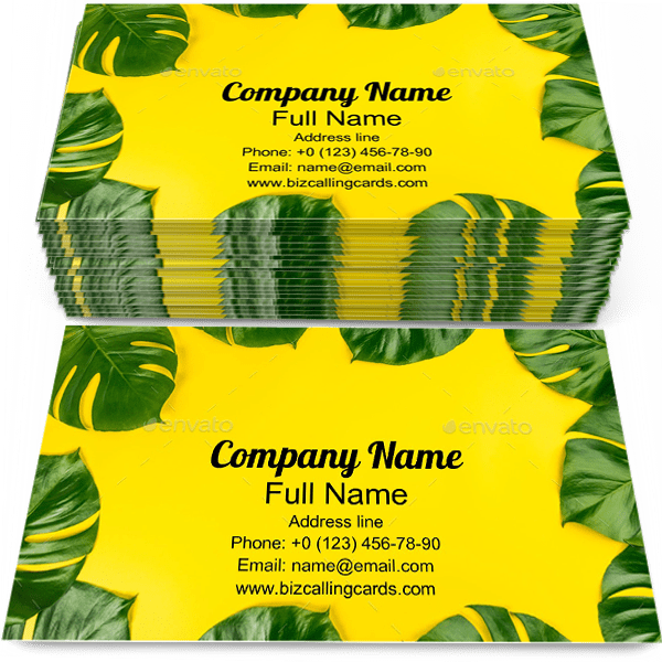 Sample of Monstera calling card design for advertisements marketing ideas and promote flower branding identity