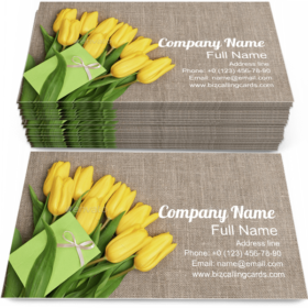 Tulips Bouquet and Note Business Card Template