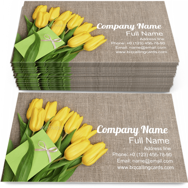 Sample of Bouquet calling card design for advertisements marketing ideas and promote celebration branding identity