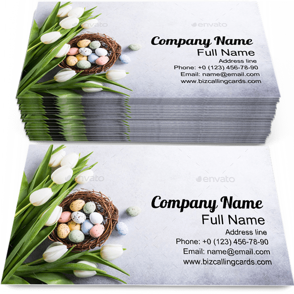 Sample of Tulips business card design for advertisements marketing ideas and promote easter branding identity