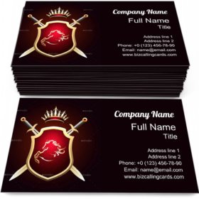 Two Swords and Crown Business Card Template