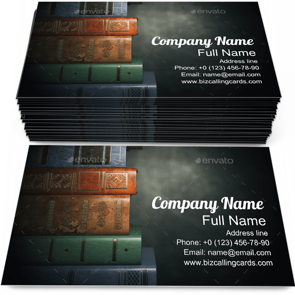 Sample of Vintage Books business card design for advertisements marketing ideas and promote bookstore branding identity
