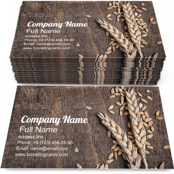 Sample of Wheat Ears business card design for advertisements marketing ideas and promote agricultural branding identity
