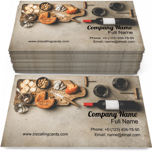 Sample of Wine and snack set business card design for advertisements marketing ideas and promote food branding identity