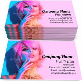 Woman in Colorful Lights Business Card Template