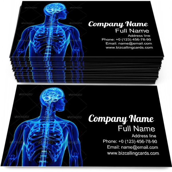 Sample of Spinal Cord calling card design for advertisements marketing ideas and promote health care branding identity
