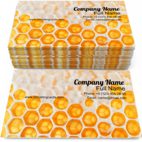 Yellow Honeycomb Wax Business Card Template