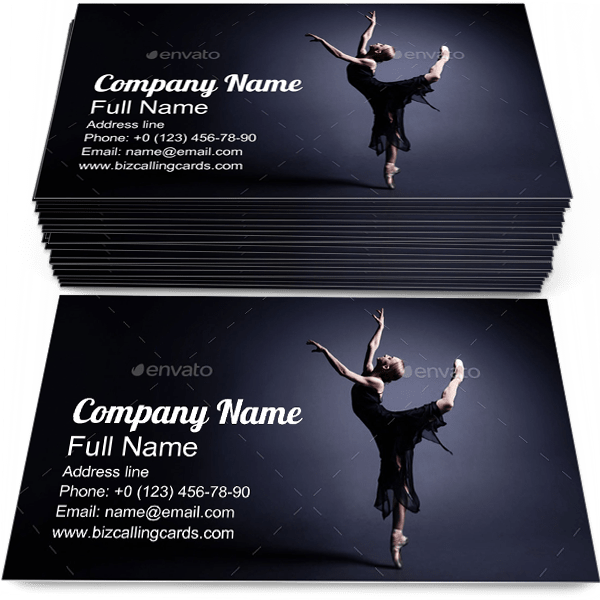 Sample of Ballerina business card design for advertisements marketing ideas and promote theatrical branding identity