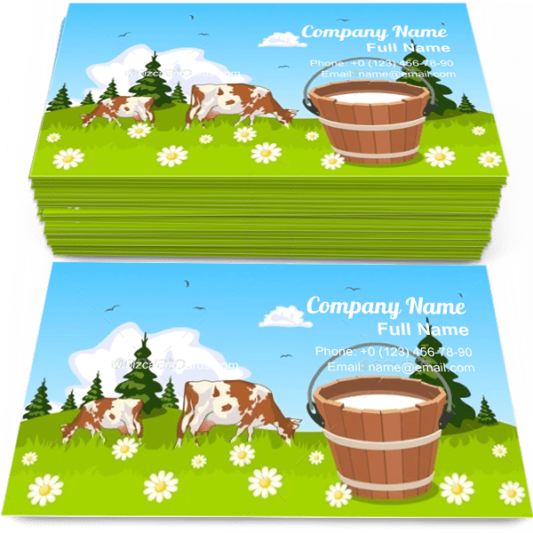Sample of Cow on Meadow calling card design for advertisements marketing ideas and promote grazing branding identity