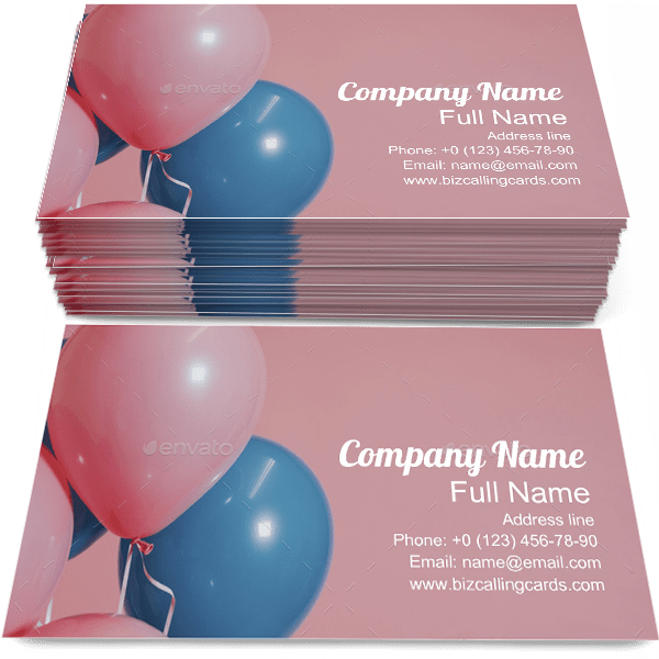 Sample of Balloons business card design for advertisements marketing ideas and promote celebration branding identity