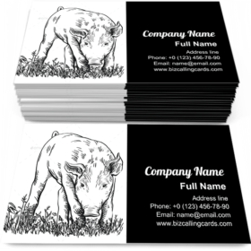 Pig Stands in the Grass Business Card Template