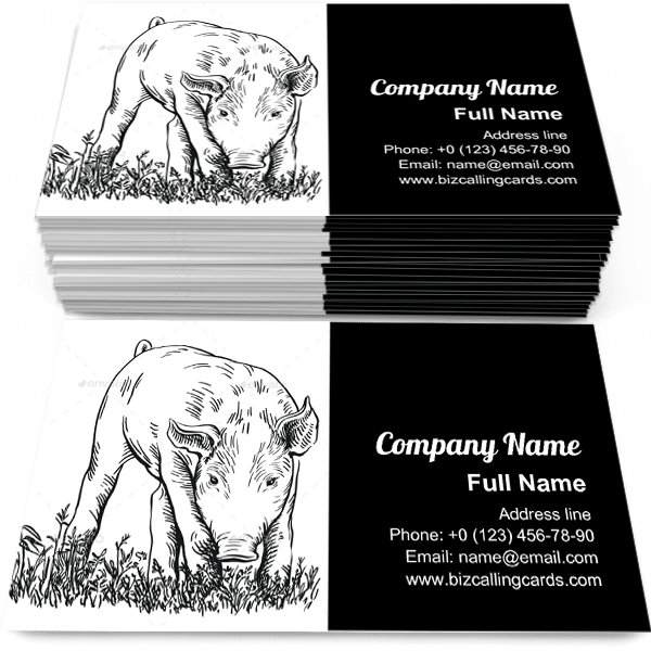 Sample of Pig Stands in the Grass business card design for advertisements marketing ideas and promote barnyard branding identity