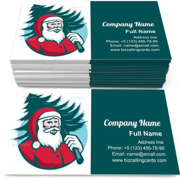 Santa Claus Carrying Christmas Tree Business Card Template