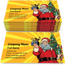 Santa Claus Christmas Tree and Gift Business Card Template