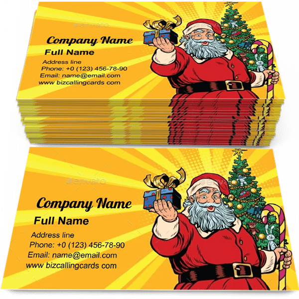 Editable Santa Claus Christmas Tree And Gift Business Card Template