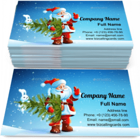 Santa Claus Standing in Snow with a Tree Business Card Template
