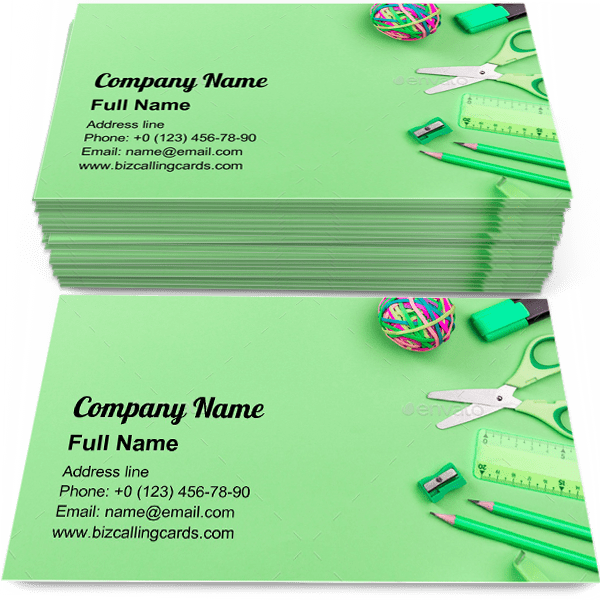 Sample of School Accessories business card design for advertisements marketing ideas and promote education branding identity