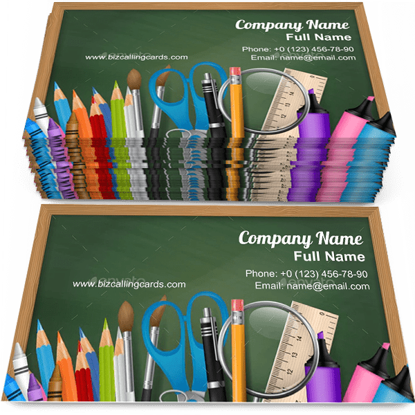 Sample of School Supplies business card design for advertisements marketing ideas and promote Education branding identity