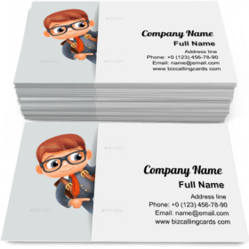 Schoolboy Pointing finger Business Card Template