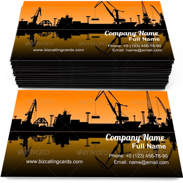 Sample of Sea Port business card design for advertisements marketing ideas and promote shipping branding identity