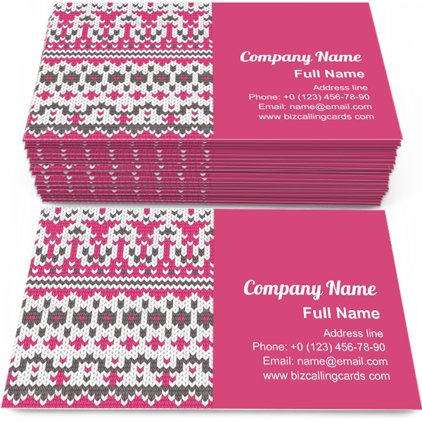 Sample of Seamless Knitted business card design for advertisements marketing ideas and promote winter handmade branding identity
