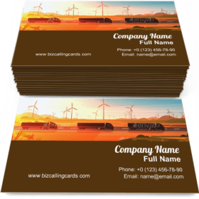 Semi Truck Trailers Driving Road Business Card Template