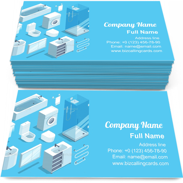 Sample of Set of Bathroom calling card design for advertisements marketing ideas and promote bathroom interior branding identity