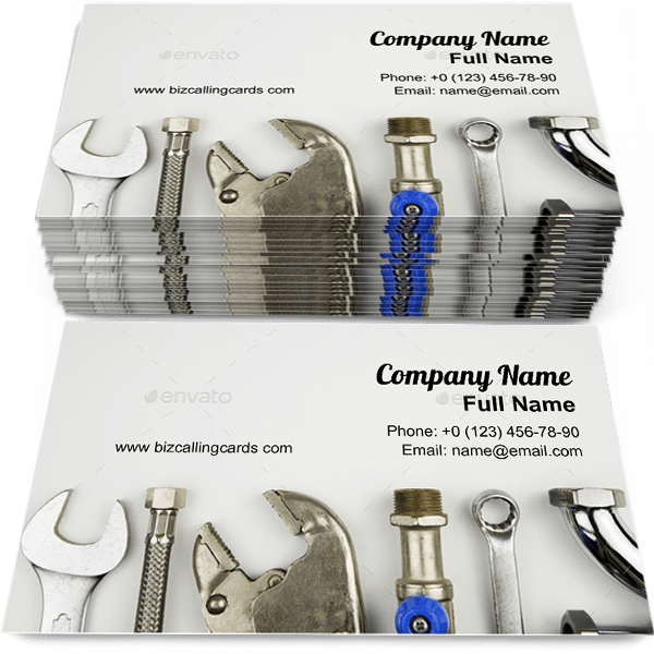 Sample of Set of plumber tools calling card design for advertisements marketing ideas and promote plumber qualification branding identity
