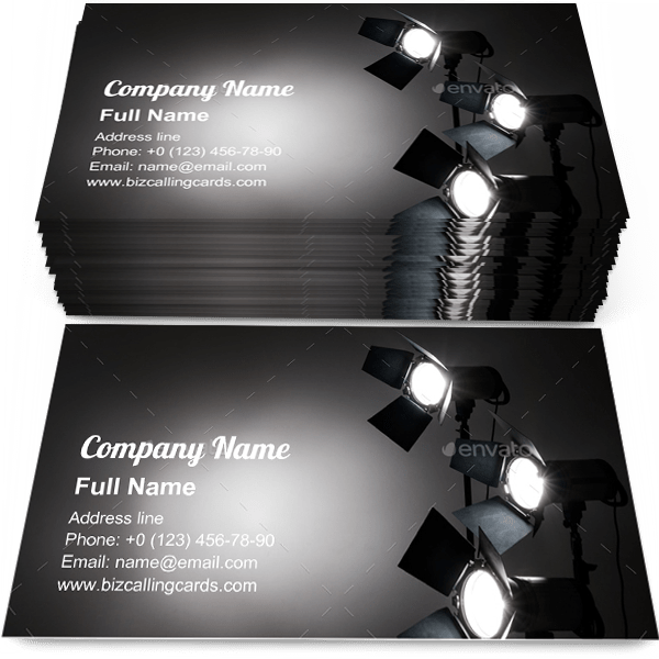 Sample of Several reflectors business card design for advertisements marketing ideas and promote professional shooting branding identity