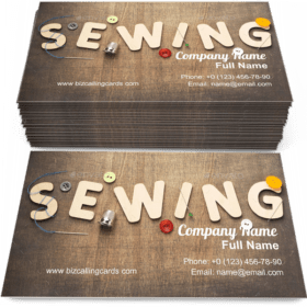 Sewing word on wooden Business Card Template