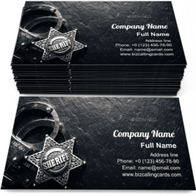 Sheriff star and handcuffs Business Card Template