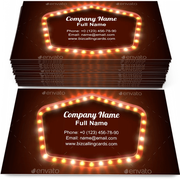 Sample of Shining light frame business card design for advertisements marketing ideas and promote show branding identity